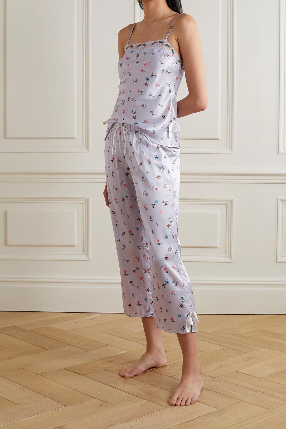 Morgan Lane Pyjama en satin à imprimé fleuri et à finitions en dentelle Bonnie Petal
