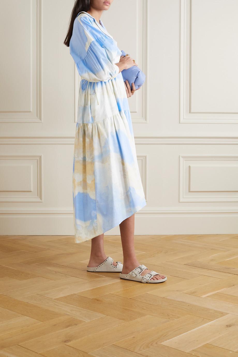 Diane von Furstenberg Heather tiered printed stretch-cotton poplin midi dress