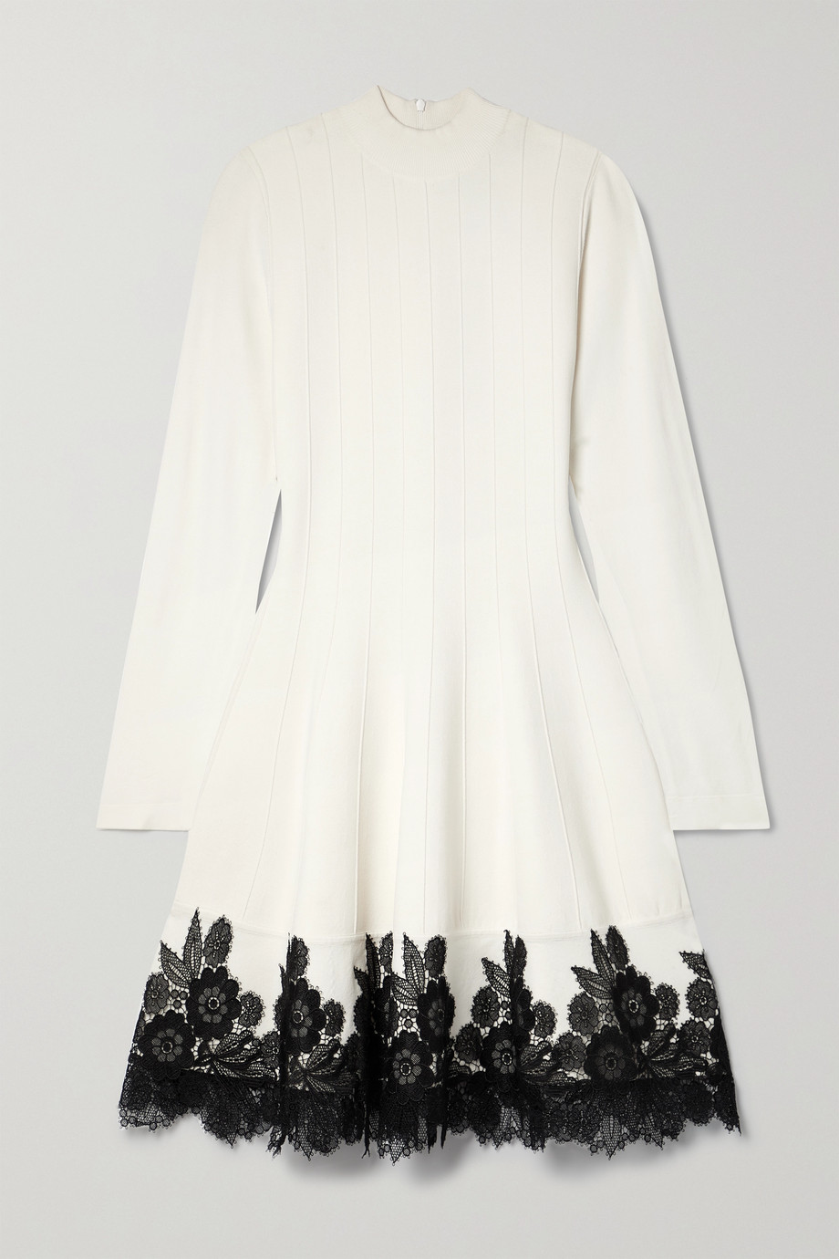 Lela Rose Robe en mailles stretch côtelées à finitions en dentelle crochetée