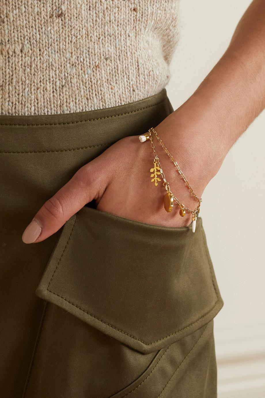 Isabel Marant Gold-tone, horn and resin bracelet