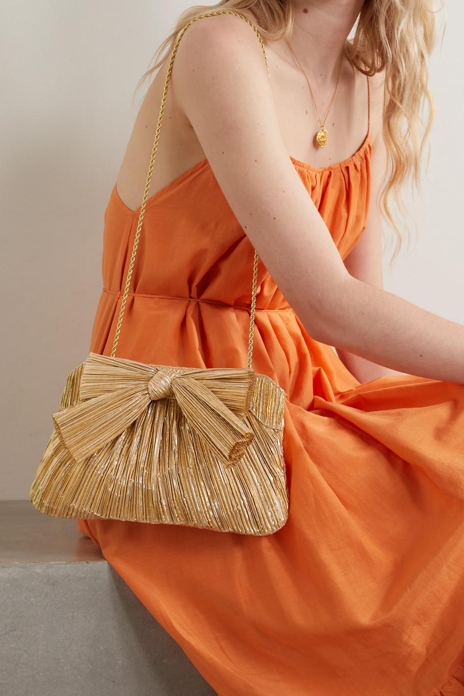 Loeffler Randall Rayne bow-embellished plissé-lamé clutch