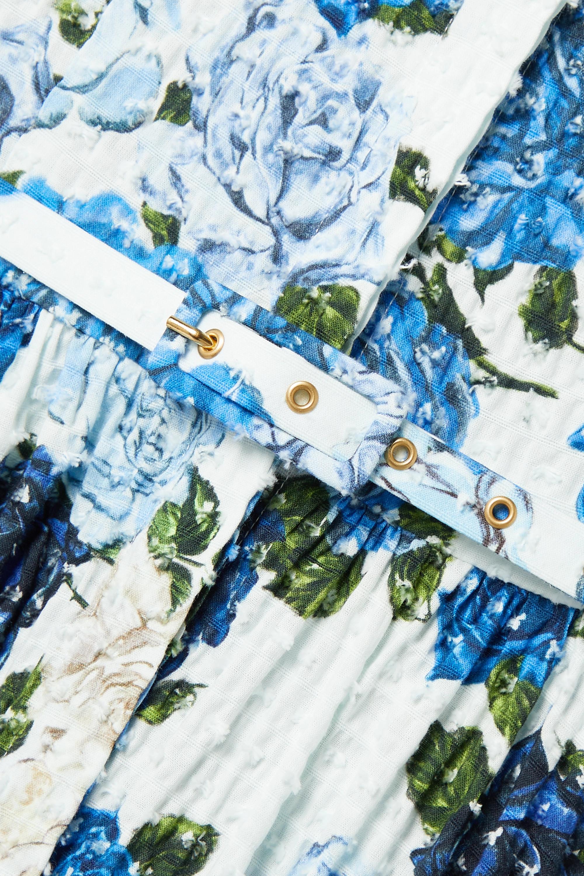Emilia Wickstead Aisha Hemdblusenkleid aus Seersucker aus einer Baumwollmischung mit Webpunkten, Blumenprint und Gürtel