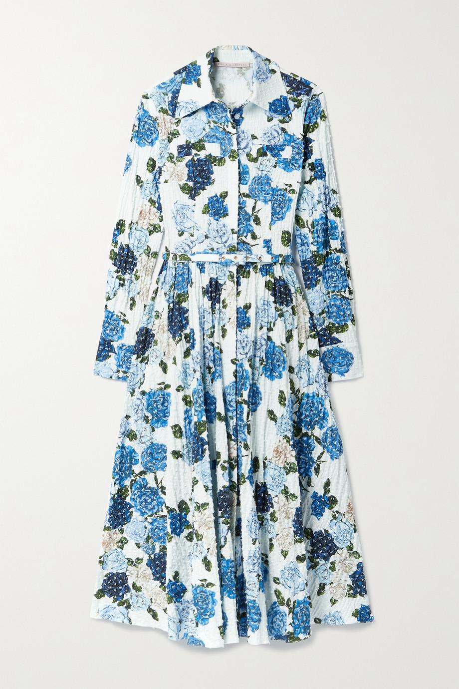 Emilia Wickstead Robe-chemise midi en crépon de coton mélangé plumetis à imprimé fleuri et à ceinture Aisha