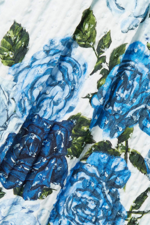 Emilia Wickstead Giovanna Midikleid aus Seersucker aus einer Baumwollmischung mit Webpunkten, Blumenprint und Raffungen