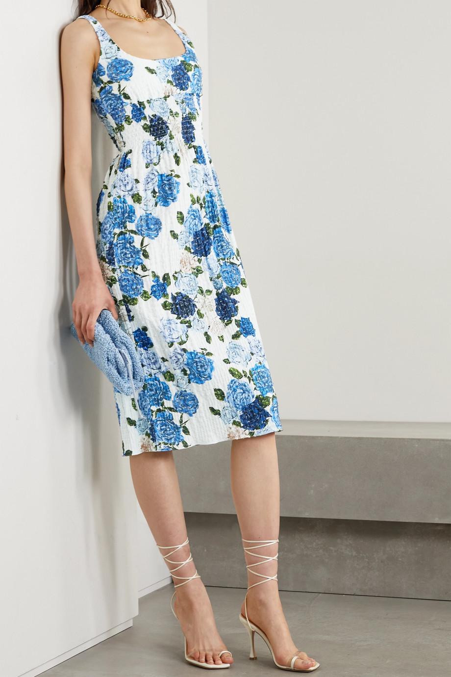 Emilia Wickstead Giovanna smocked floral-print Swiss-dot cotton-blend seersucker midi dress
