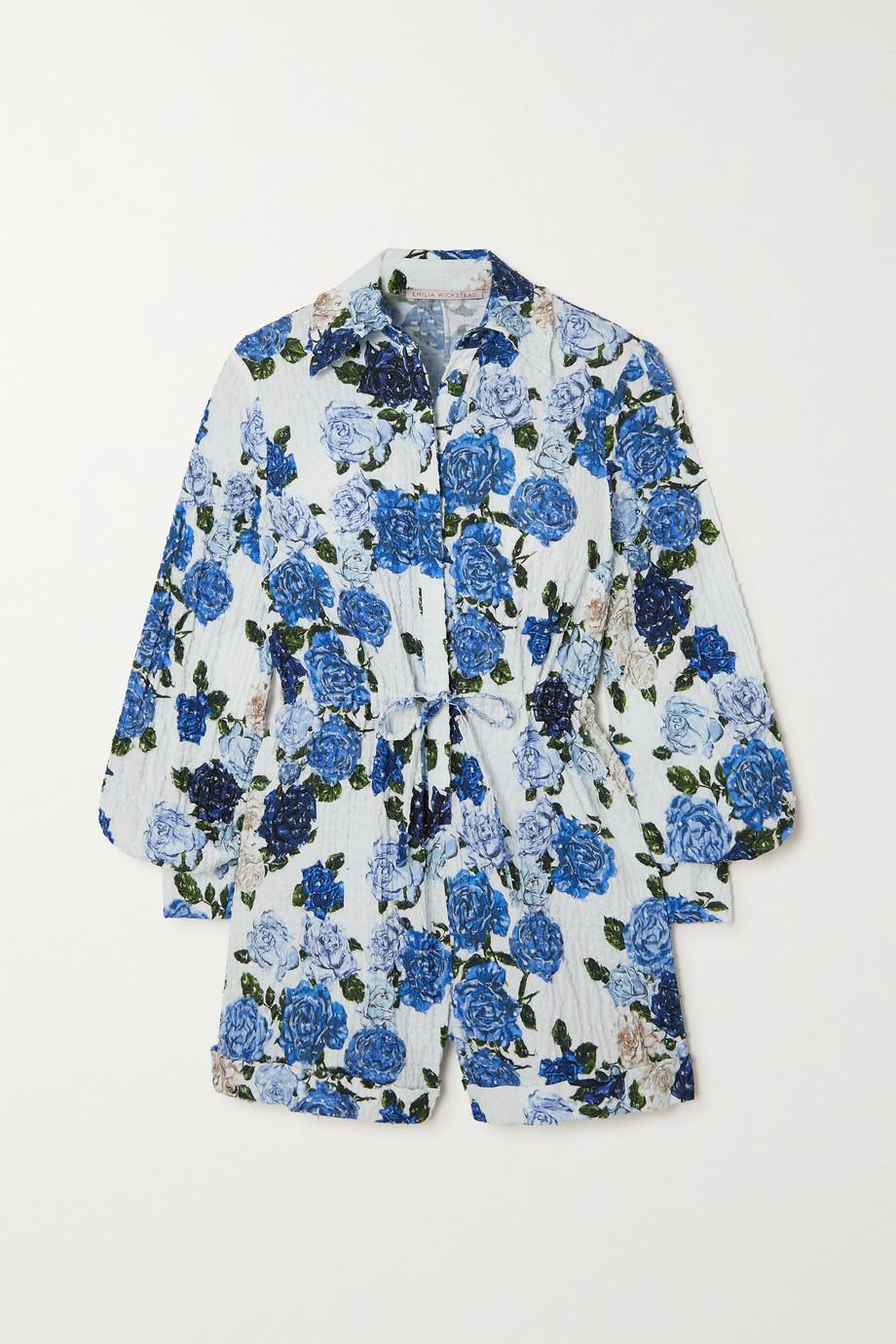 Emilia Wickstead Blanche floral-print Swiss-dot cotton-blend seersucker playsuit