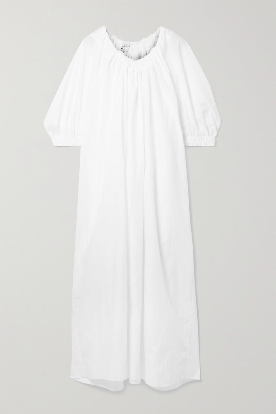 Co Gathered cotton-blend poplin maxi dress