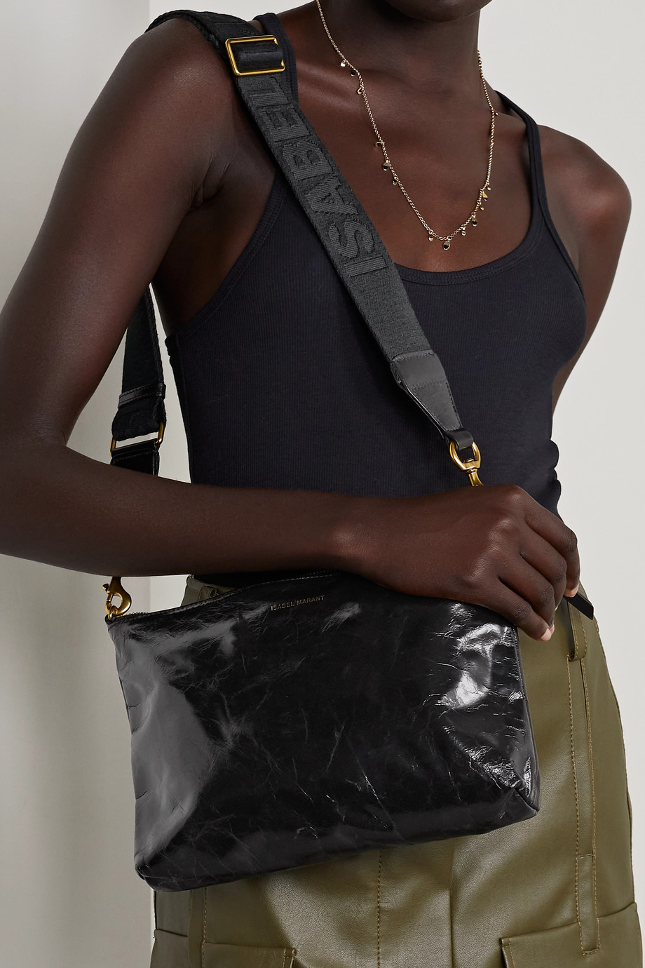 Isabel Marant Nessah crinkled patent-leather shoulder bag