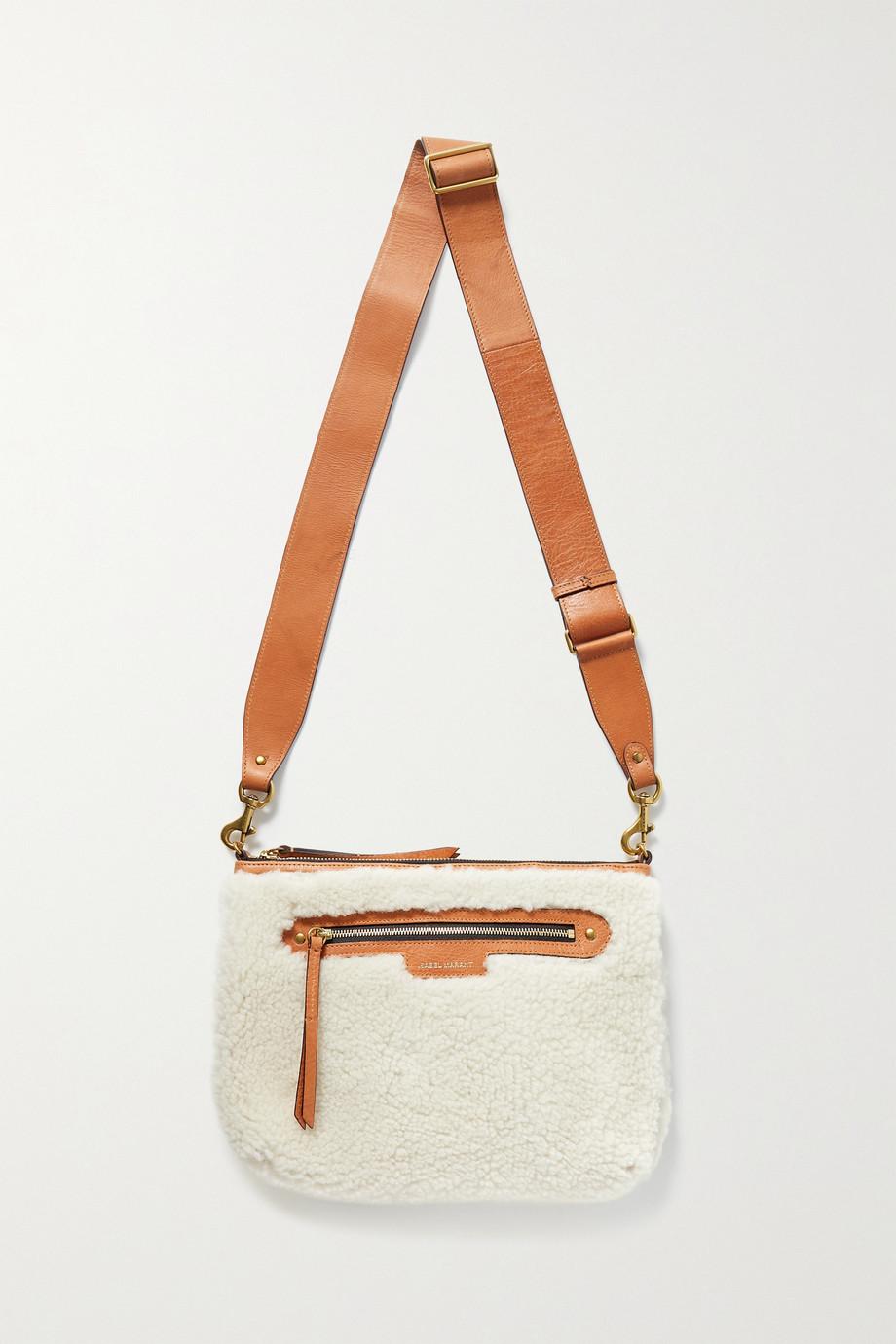 Isabel Marant Nessah leather-trimmed shearling shoulder bag