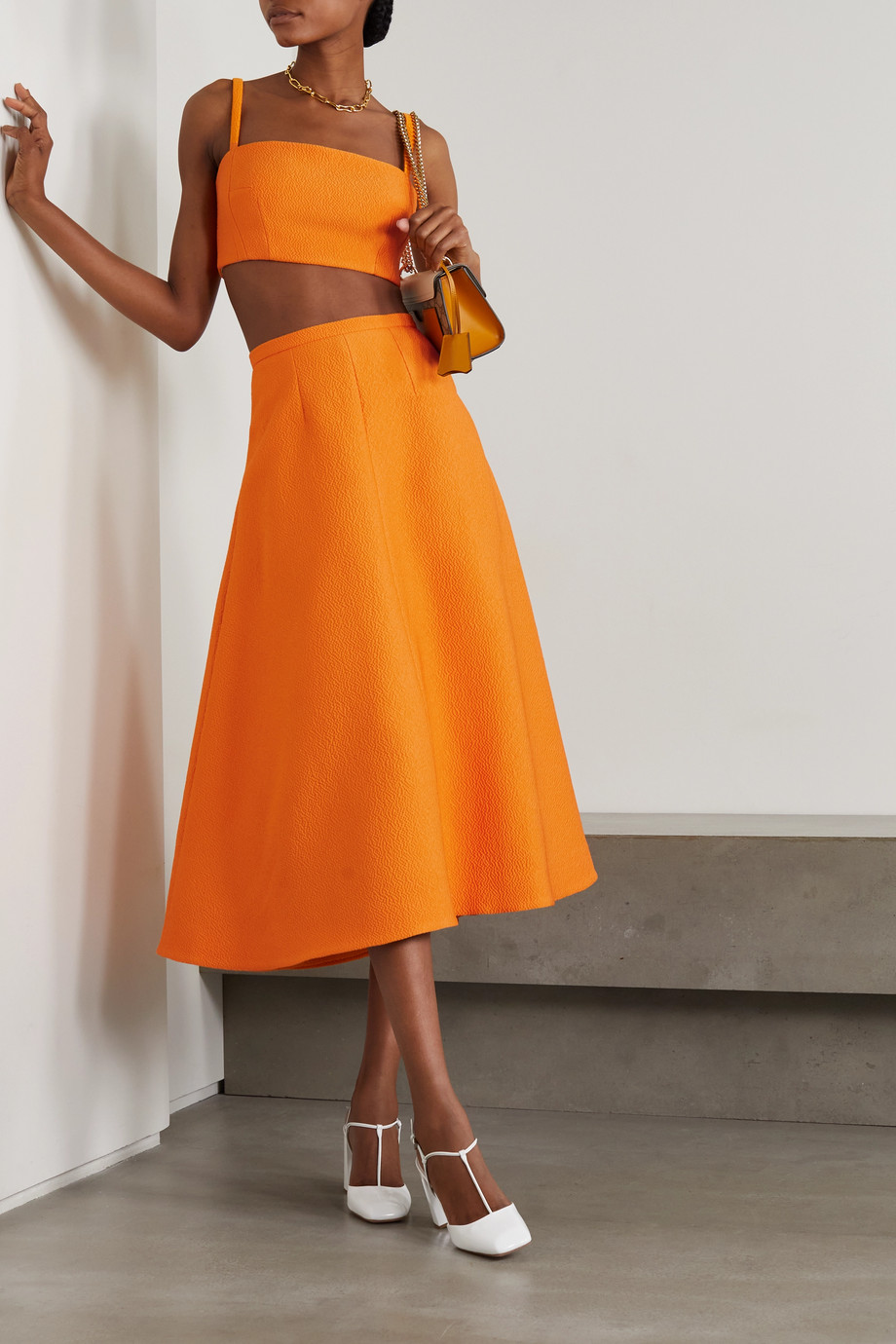 Emilia Wickstead Hertha pleated cloqué midi skirt