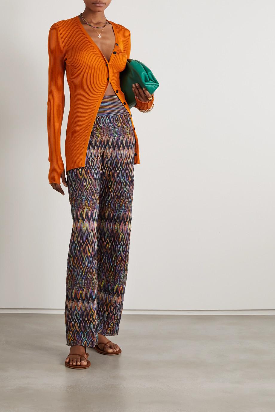 Missoni Crochet-knit wool wide-leg pants