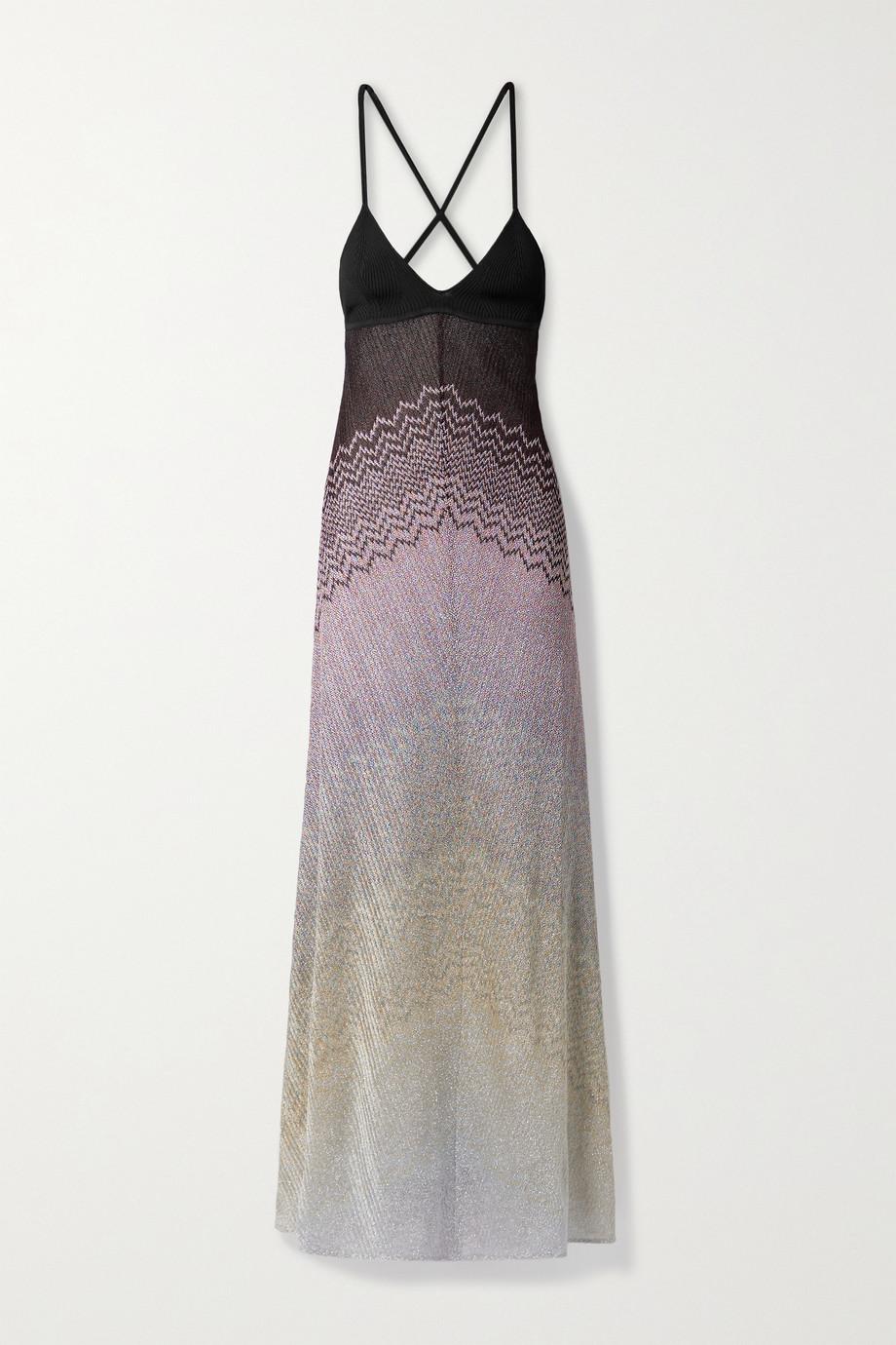 Missoni Robe longue dos ouvert en mailles crochetées métallisées
