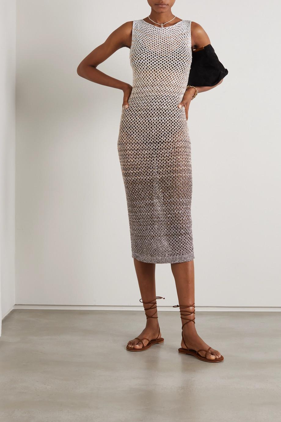 Missoni Sequined striped metallic crochet-knit dress