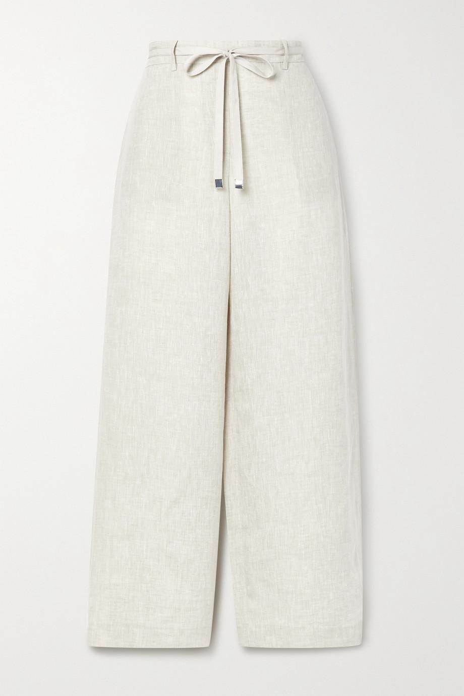 Lafayette 148 Pantalon large en lin à ceinture Colombus