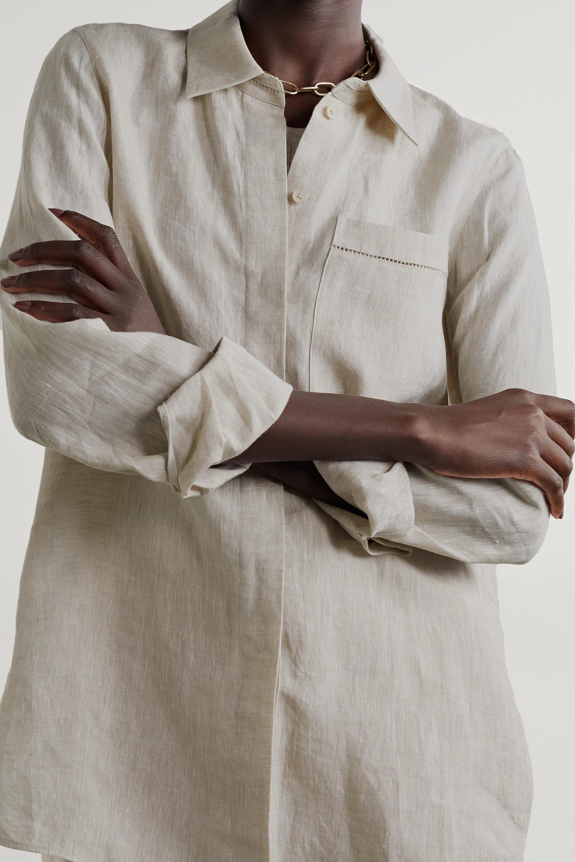 Lafayette 148 Ruxton Hemd aus Leinen mit Häkeleinsätzen