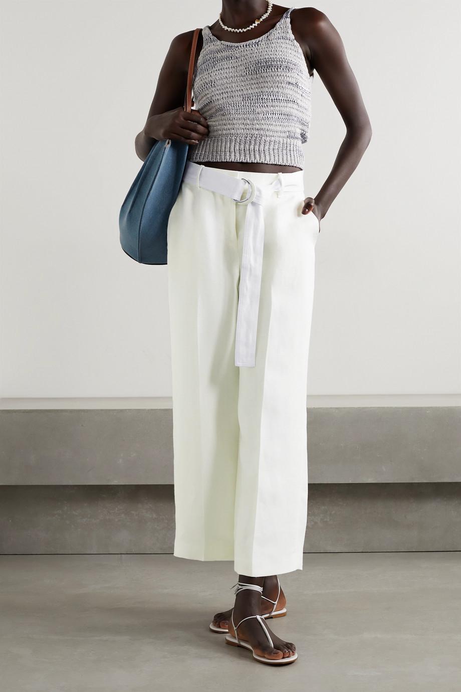 Lafayette 148 Pantalon large en lin à ceinture Rockefeller