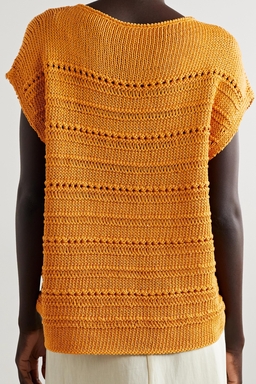 Lafayette 148 Ärmelloser Pullover aus einer Baumwollmischung in Lochstrick mit Pailletten
