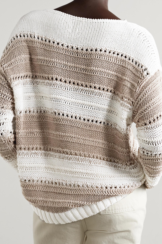 Lafayette 148 Gestreifter Pullover aus einer Baumwollmischung in Lochstrick mit Pailletten