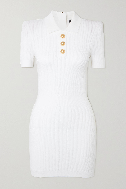 Balmain Mini-robe en mailles côtelées à boutons