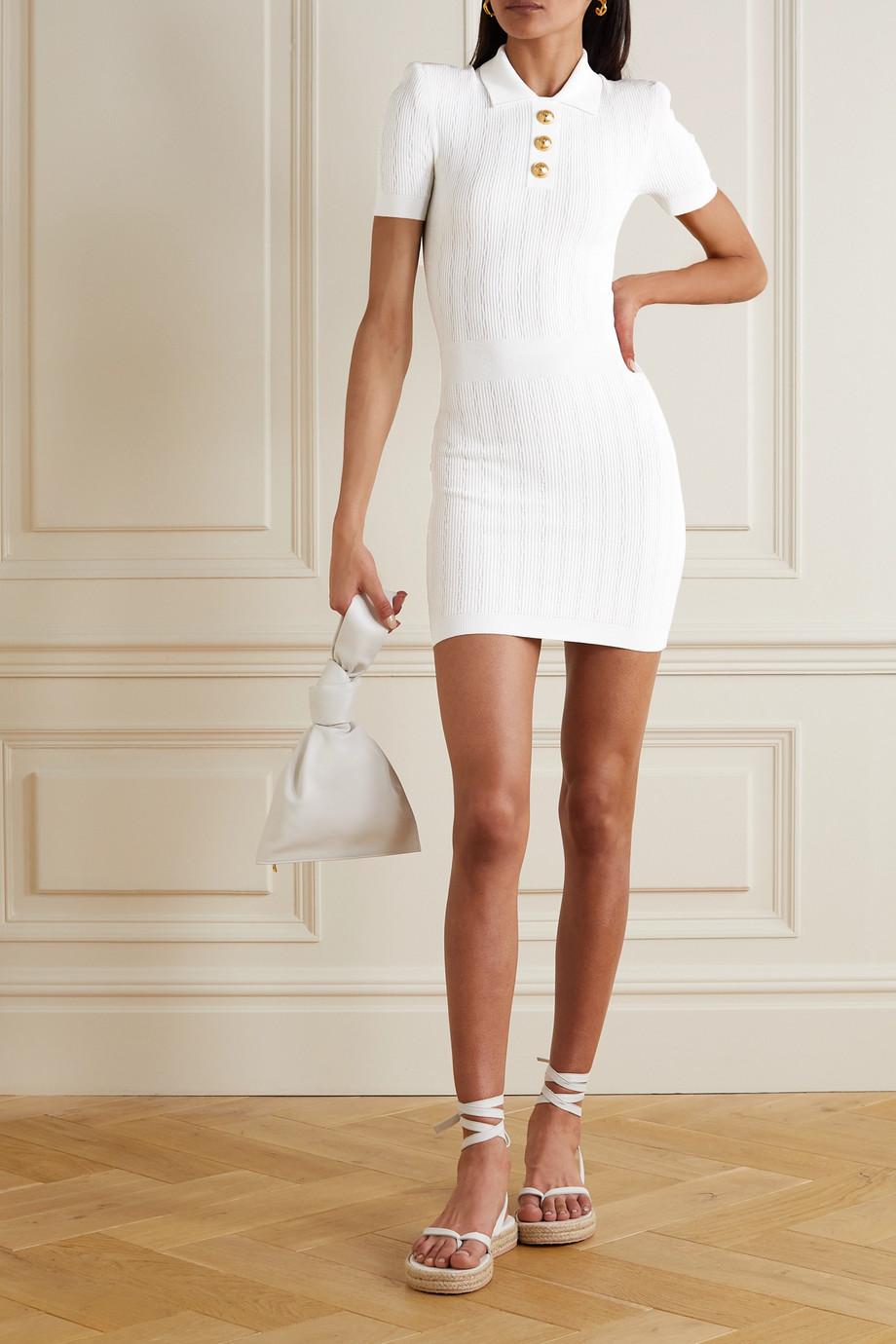 Balmain Minikleid aus Rippstrick mit Zierknöpfen