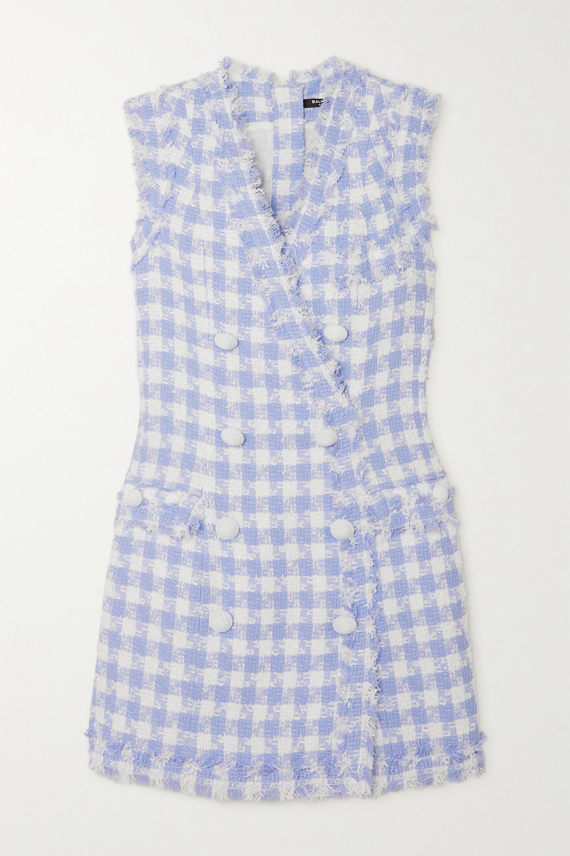 Balmain Mini-robe à double boutonnage en tweed de coton mélangé à carreaux