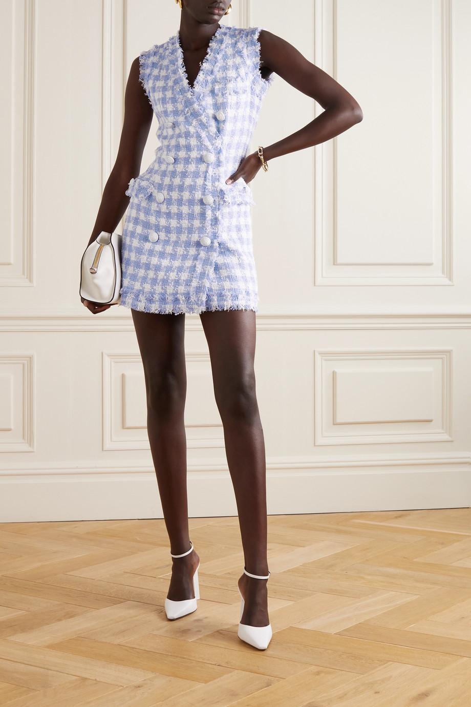 Balmain Doppelreihiges Minikleid aus kariertem Tweed aus einer Baumwollmischung