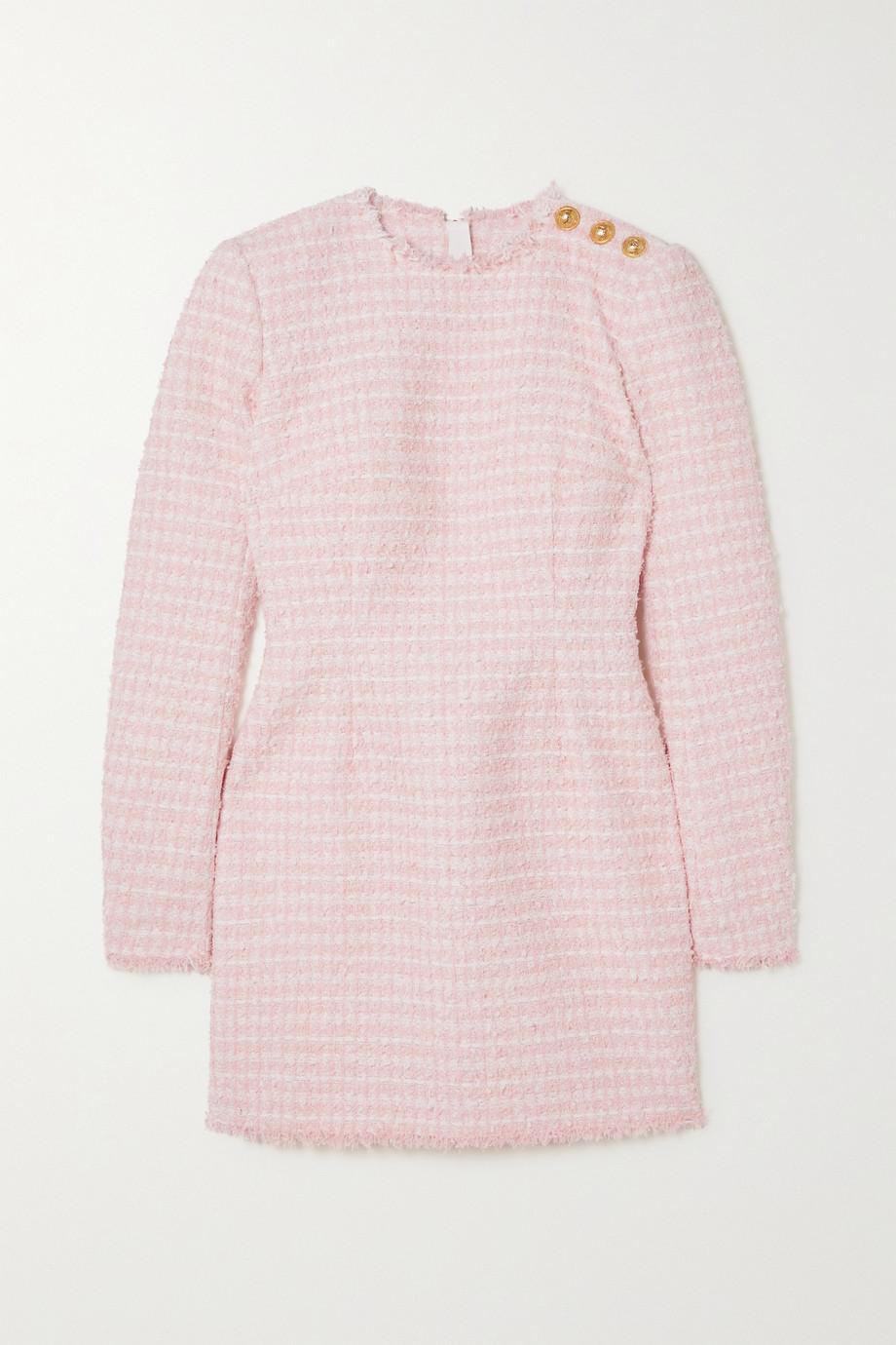Balmain Minikleid aus kariertem Tweed mit Zierknöpfen
