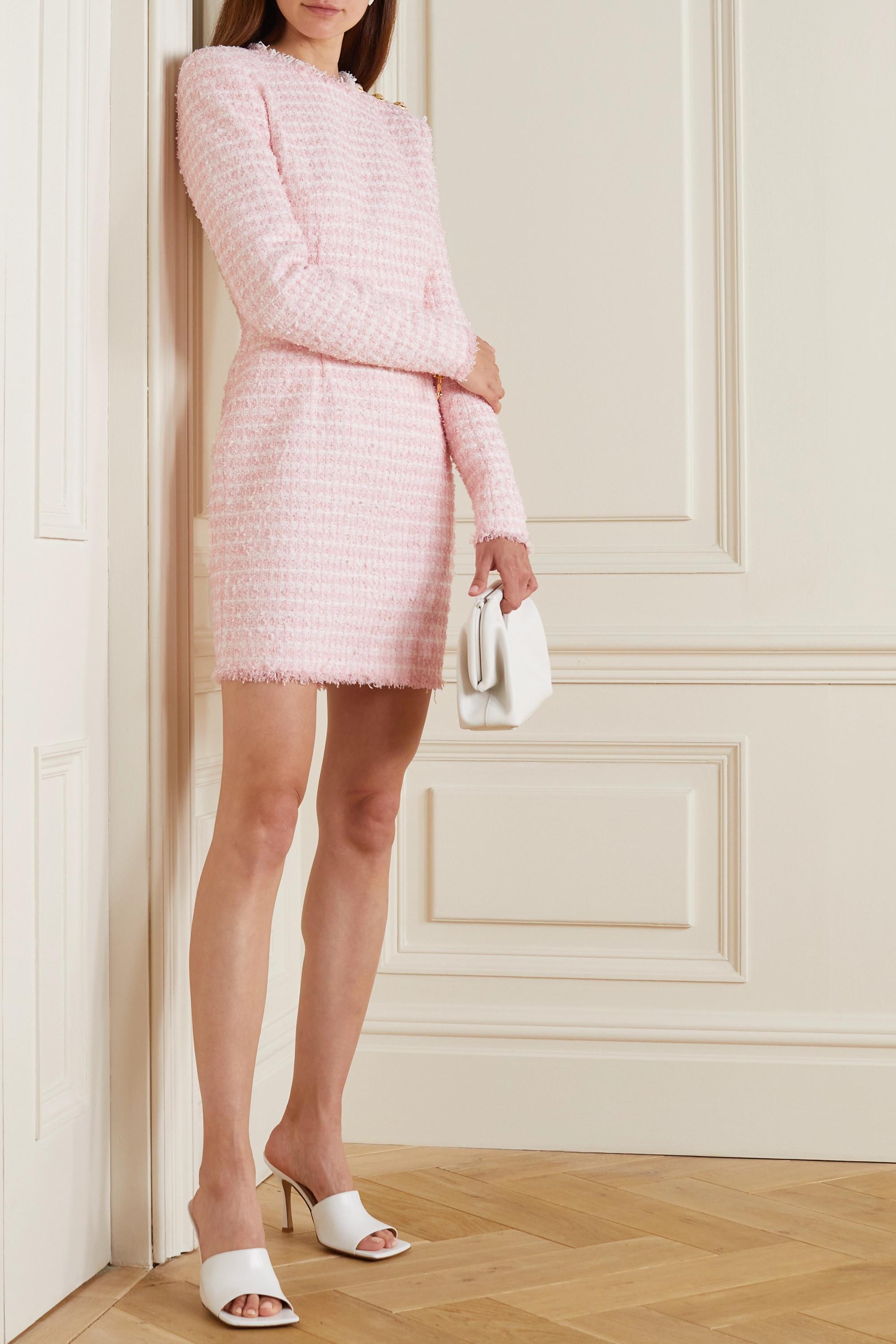 Balmain Mini-robe en tweed à carreaux et à boutons