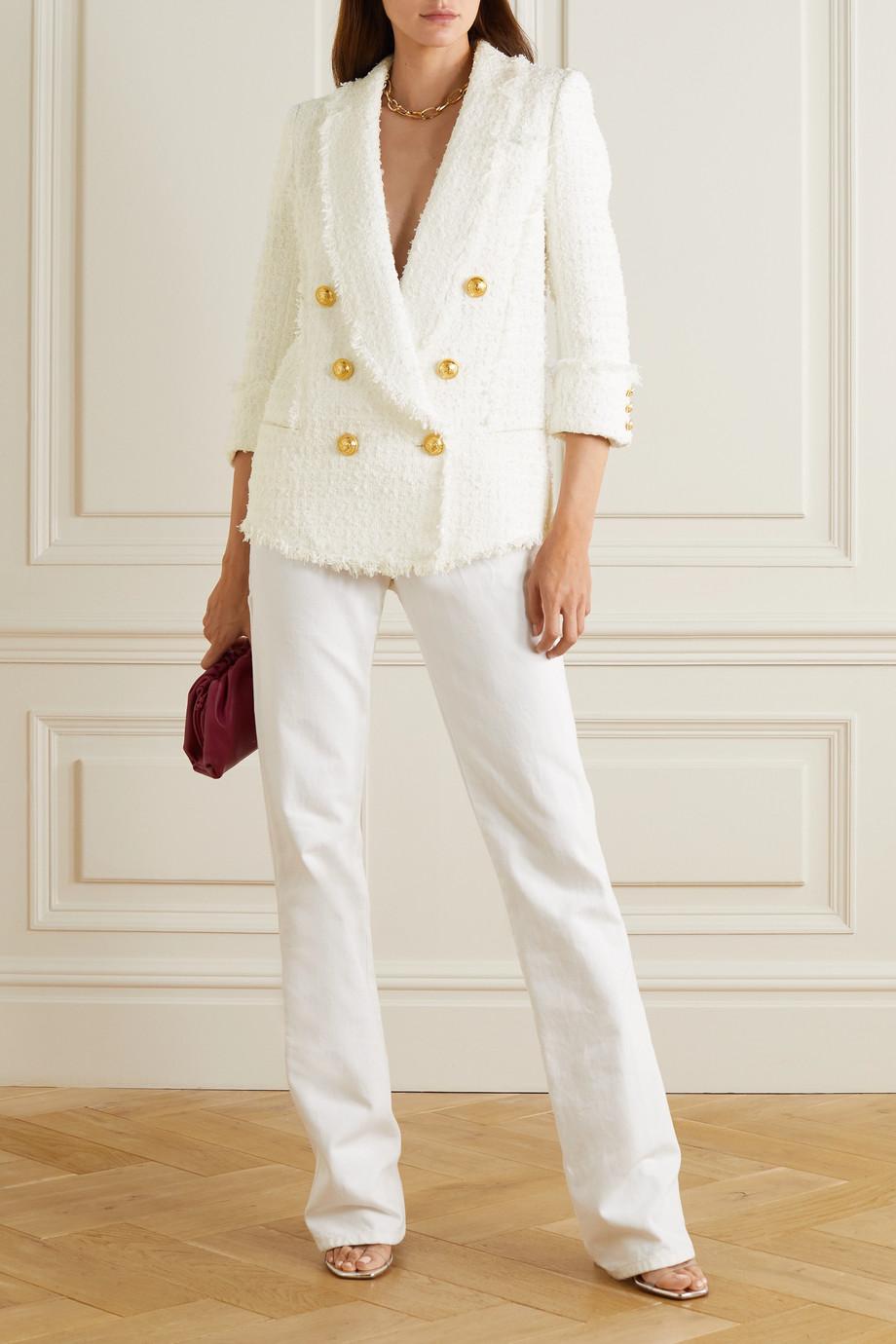 Balmain Double-breasted frayed tweed blazer