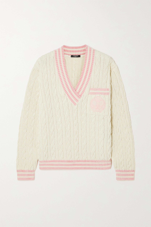 Balmain Pull en laine mélangée à mailles torsadées et à broderies
