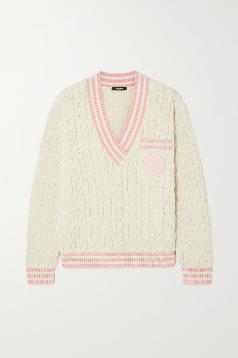 Balmain Pullover aus einer Wollmischung in Zopfstrick mit Stickerei