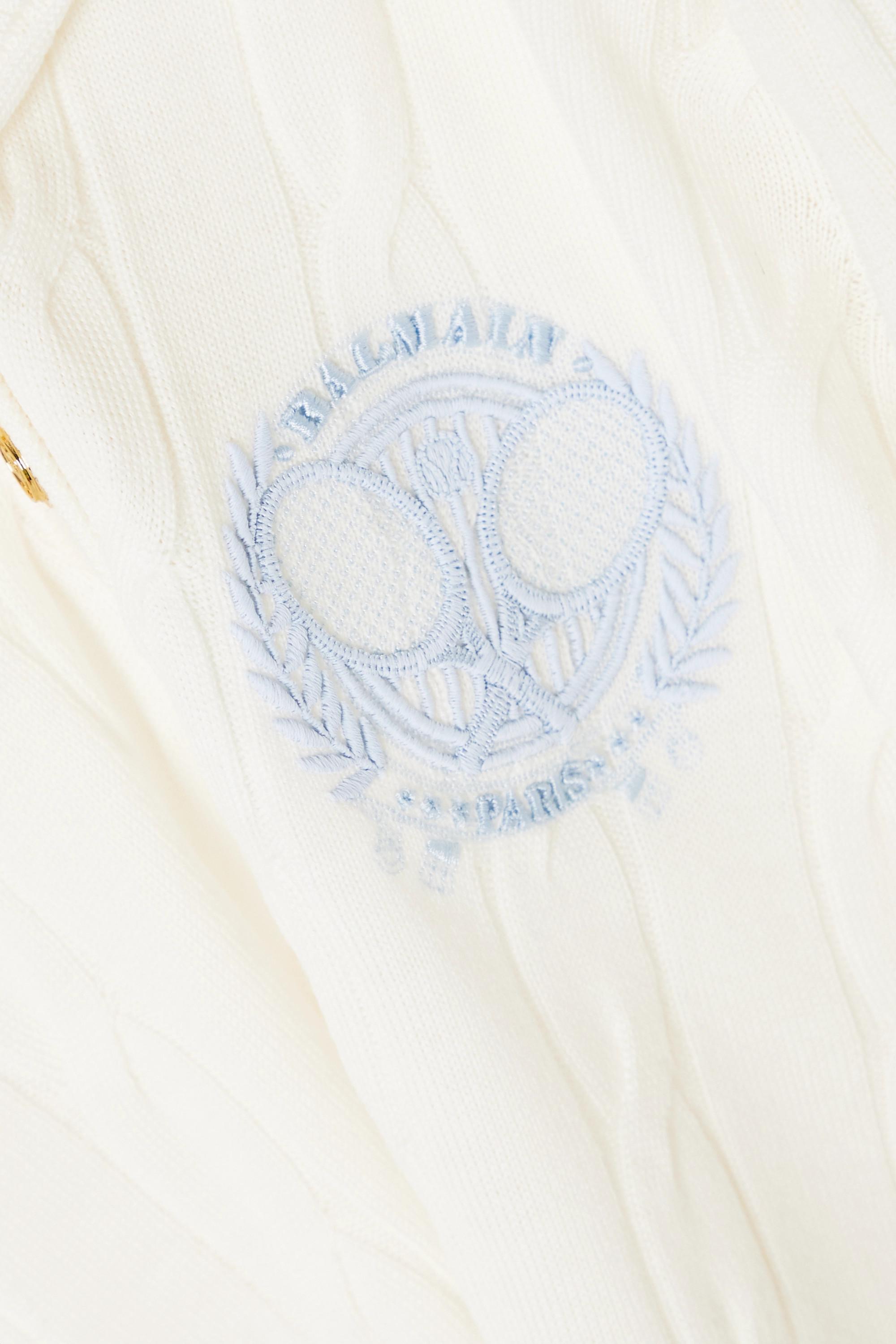 Balmain Polo en laine mérinos à mailles torsadées et à broderie