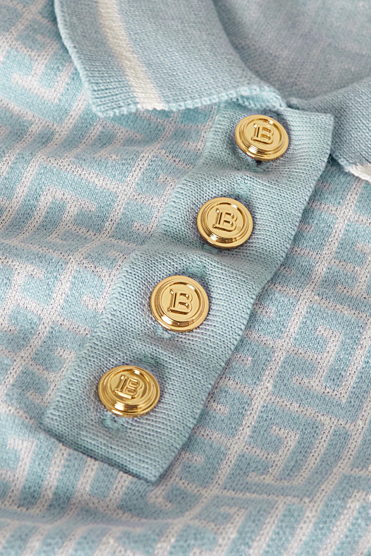 Balmain Polo en mailles jacquard de laine mérinos mélangée