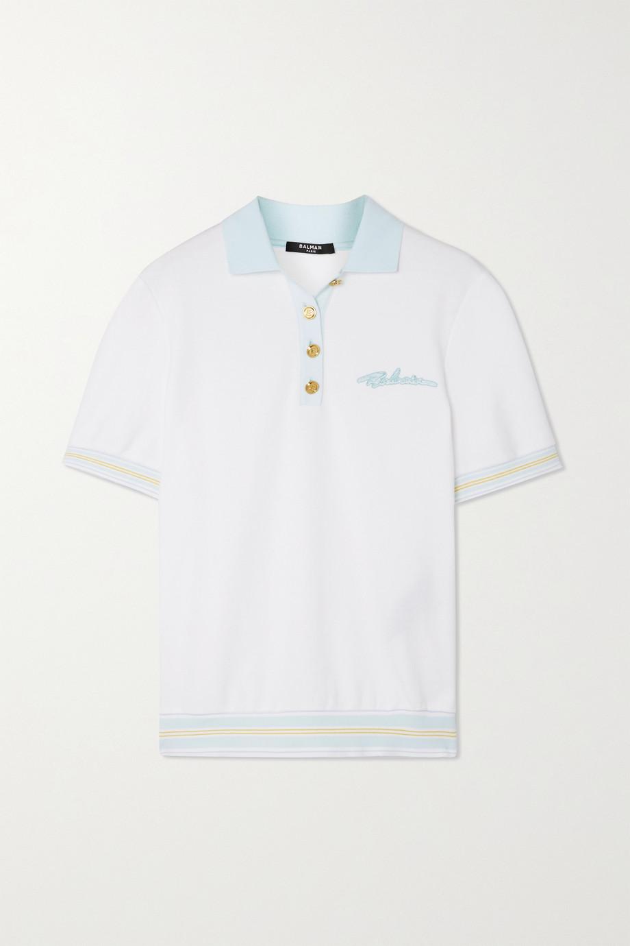 Balmain Polohemd aus Baumwoll-Jersey mit Stickerei