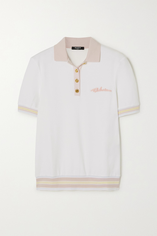 Balmain Polo en jersey de coton à broderies