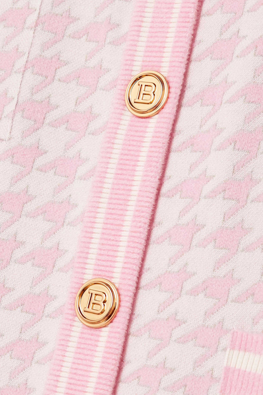 Balmain Cardigan en mailles jacquard métallisées pied-de-coq à boutons
