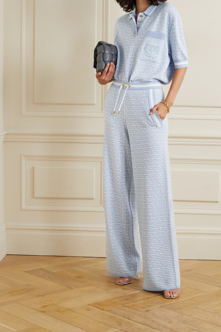 Balmain Jacquard-knit merino wool-blend track pants