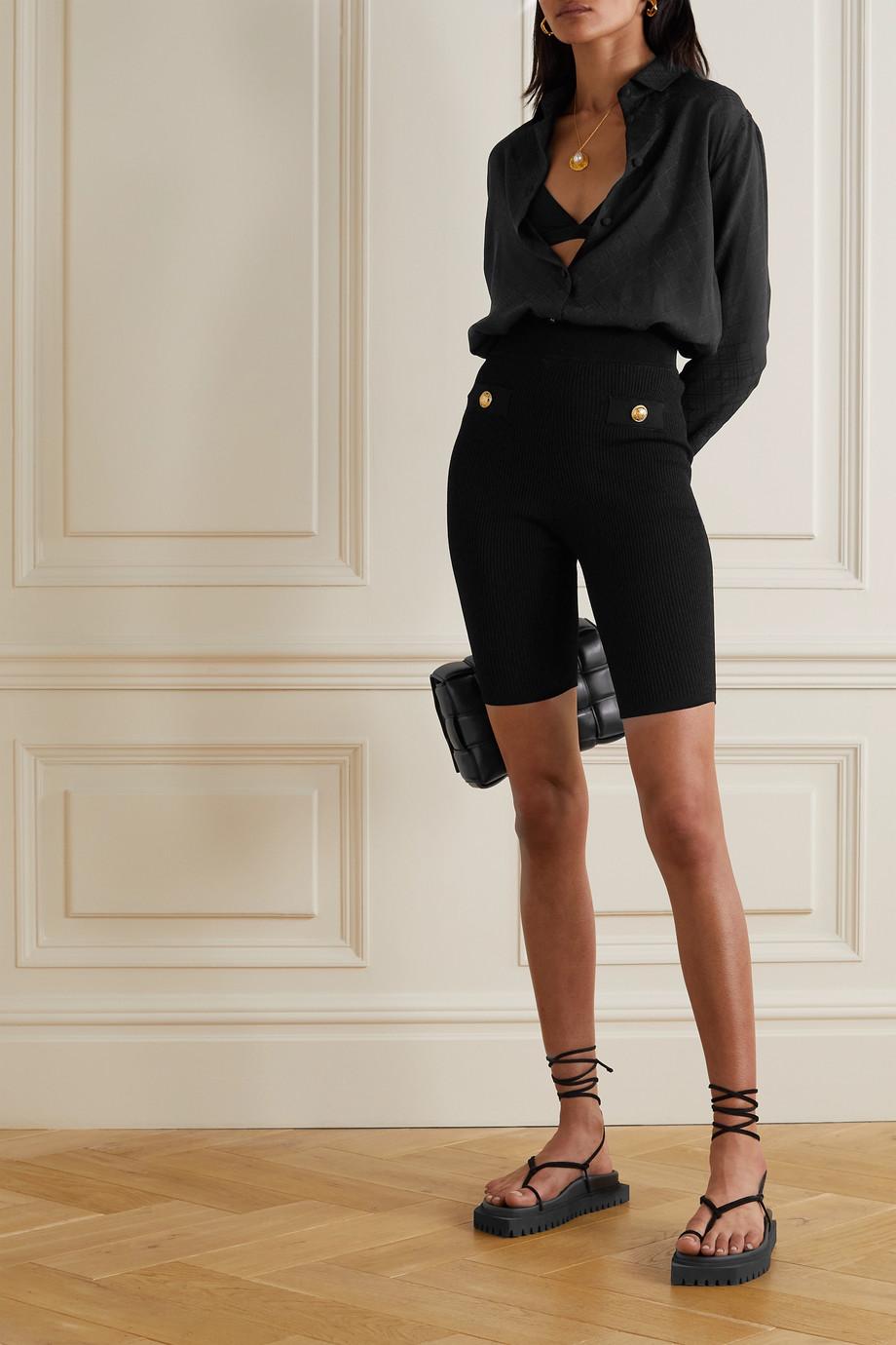 Balmain Embellished ribbed stretch-knit shorts