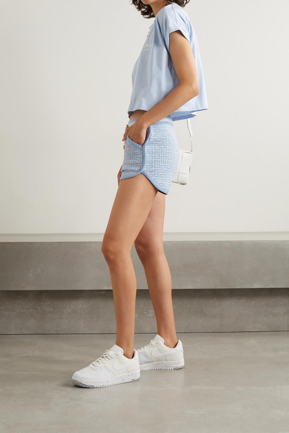 Balmain Shorts aus Jacquard-Strick aus einer Wollmischung