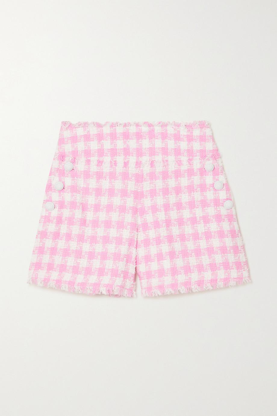Balmain Shorts aus Tweed aus einer Baumwollmischung mit Gingham-Karo und Fransen