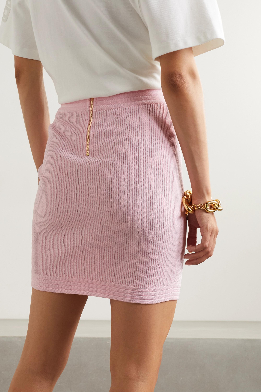 Balmain Mini-jupe en mailles côtelées à boutons