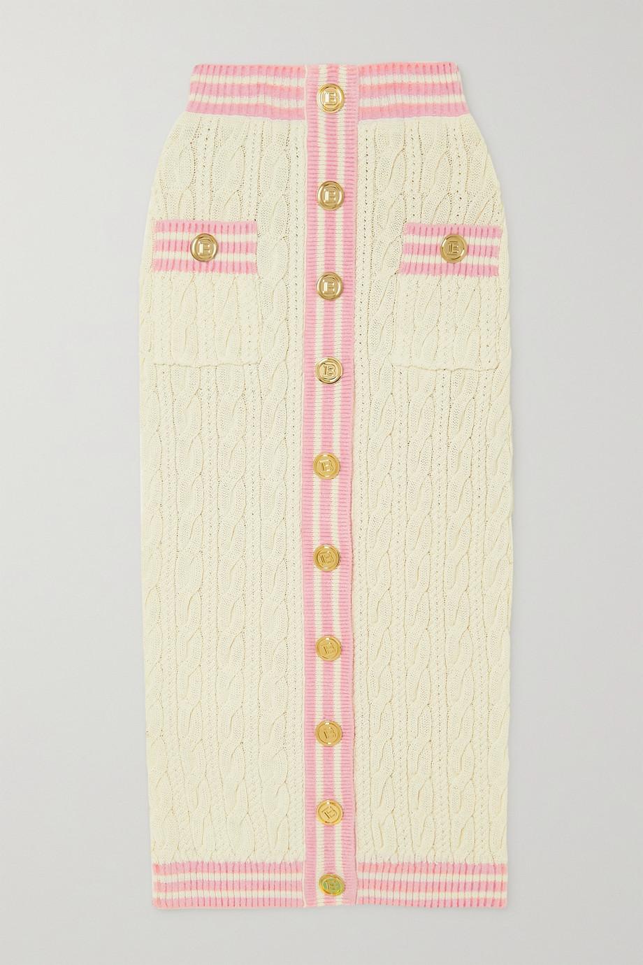 Balmain Jupe midi en laine mélangée à mailles torsadées et à boutons