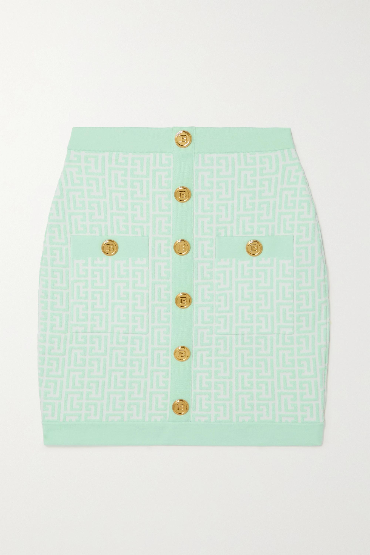 Balmain Mini-jupe en jacquard de laine mélangée à boutons