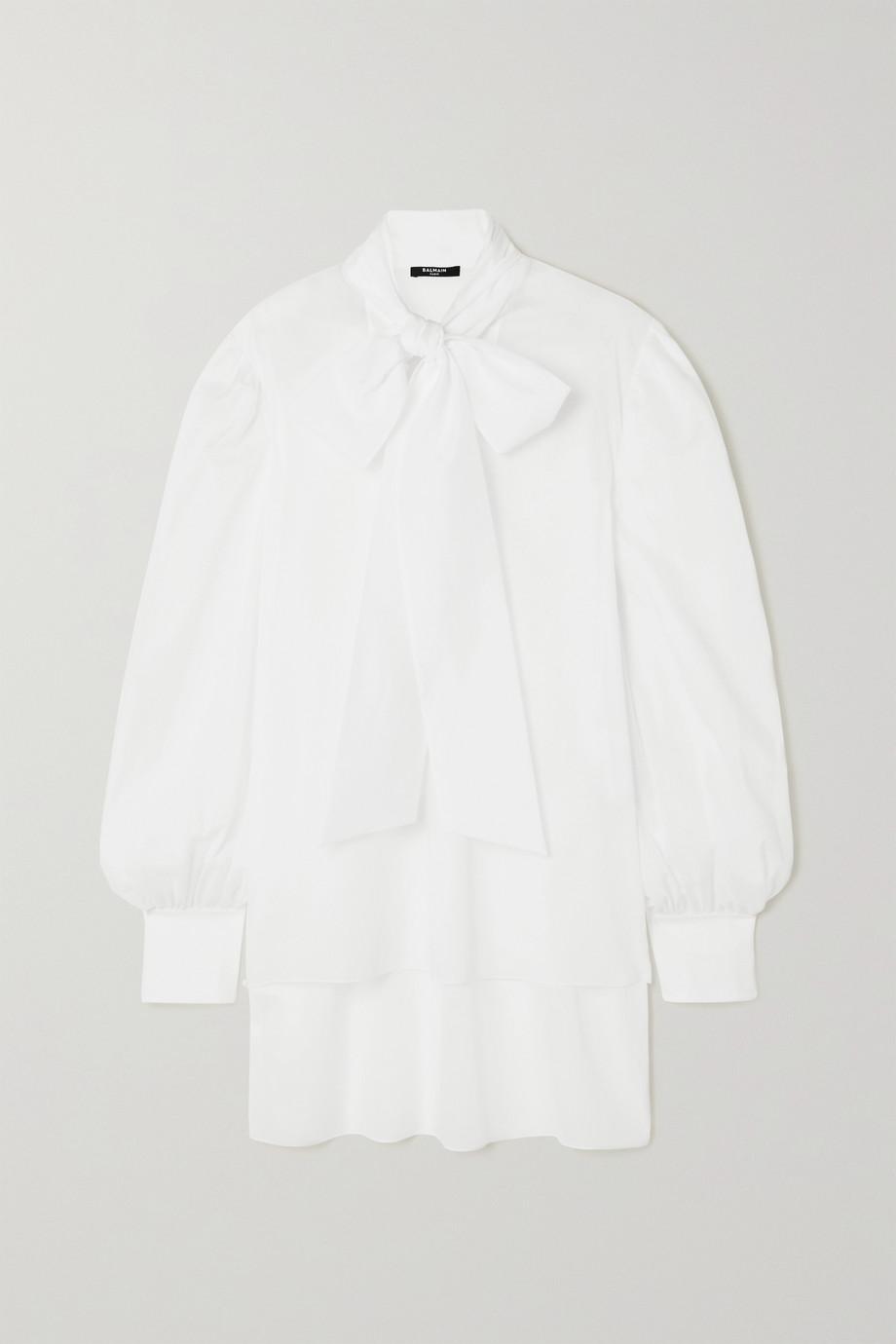 Balmain Pussy-bow cotton-voile blouse