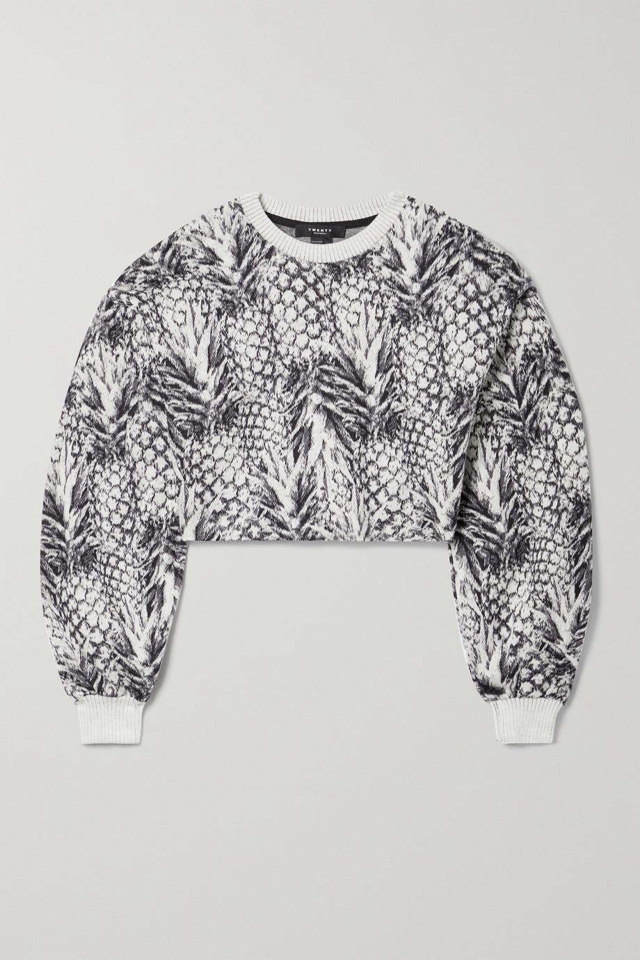 TWENTY Montréal Pineapple Hyper Reality cropped jacquard-knit cotton-blend sweater