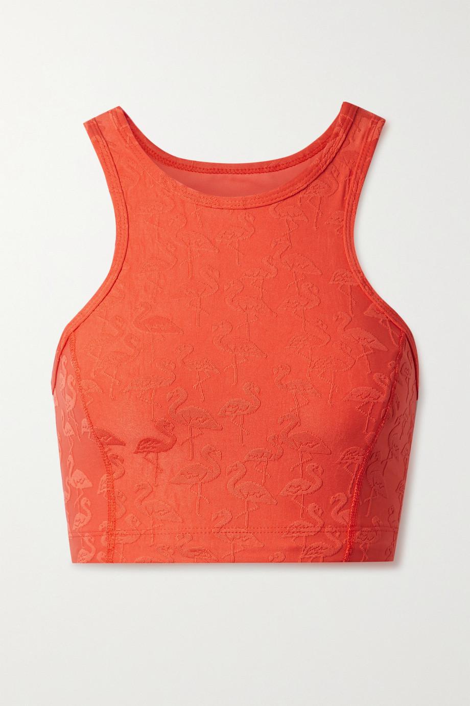 TWENTY Montréal Flamingo stretch-jacquard sports bra