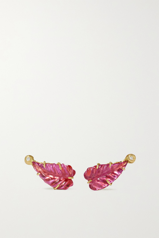 Brooke Gregson Maya Leaf Ohrringe aus 18 Karat Gold mit Diamanten und Turmalinen