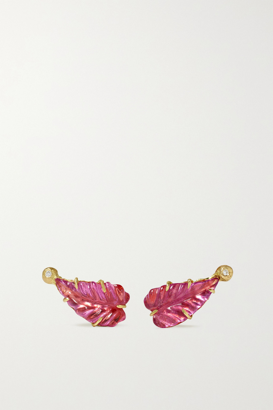 Brooke Gregson Boucles d'oreilles en or 18 carats, diamants et tourmalines Maya Leaf