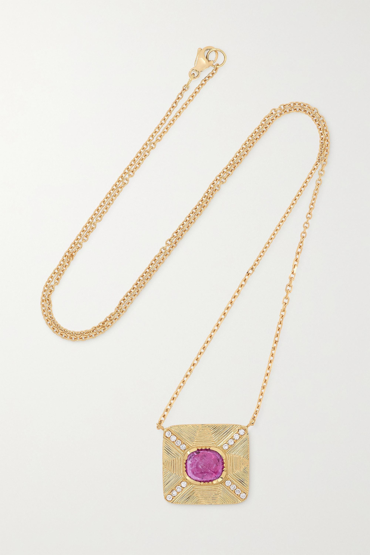 Brooke Gregson 18-karat gold, sapphire and diamond necklace