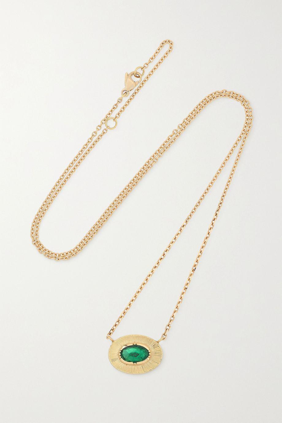Brooke Gregson Ellipse Kette aus 18 Karat Gold mit Smaragd